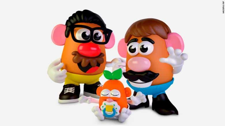 This photo provided by Hasbro shows the new Potato Head world.  Mr. Potato Head is no longer a mister. Hasbro, the company that makes the potato-shaped plastic toy, is giving the spud a gender neutral new name: Potato Head. The change will appear on boxes this year. ??(Hasbro via AP)